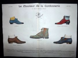 Le Moniteur de la Cordonnerie 1893 Rare Hand Colored Shoe Design Print 73